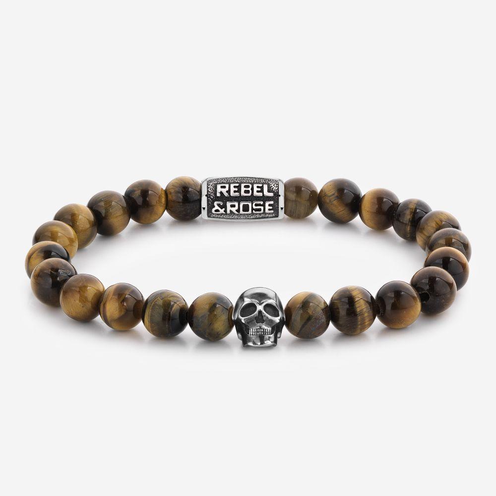 Rebel & Rose Armband Skull Mixed Tiger Eye S