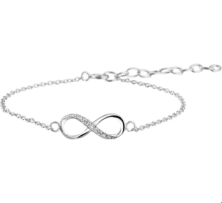 TFT Armband Zilver Infinity Zirkonia 1,0 mm 15,5 + 2,5 cm