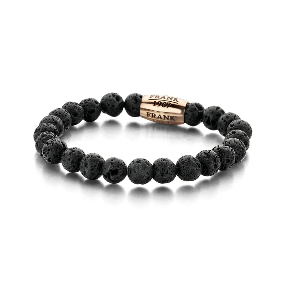 Frank 1967 7FB-0048 Rekarmband Beads Lavasteen zwart 20 cm