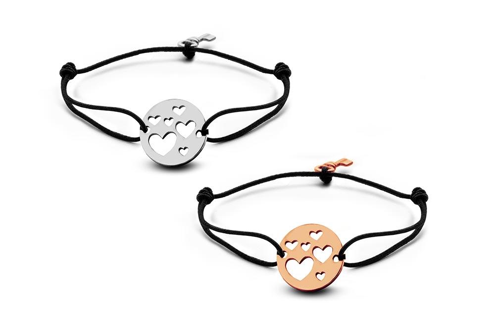 Key Moments 8KM-C00006 Duo armband met open hartjes en sleutel one-size zilverkleurig-rosékleurig