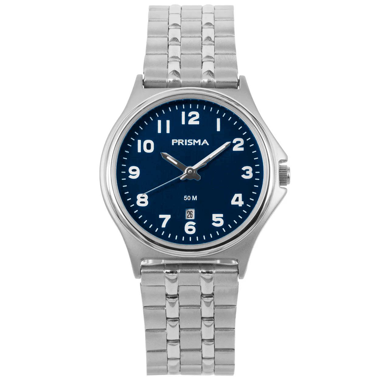 Prisma P.1689 Horloge staal zilverkleurig-blauw