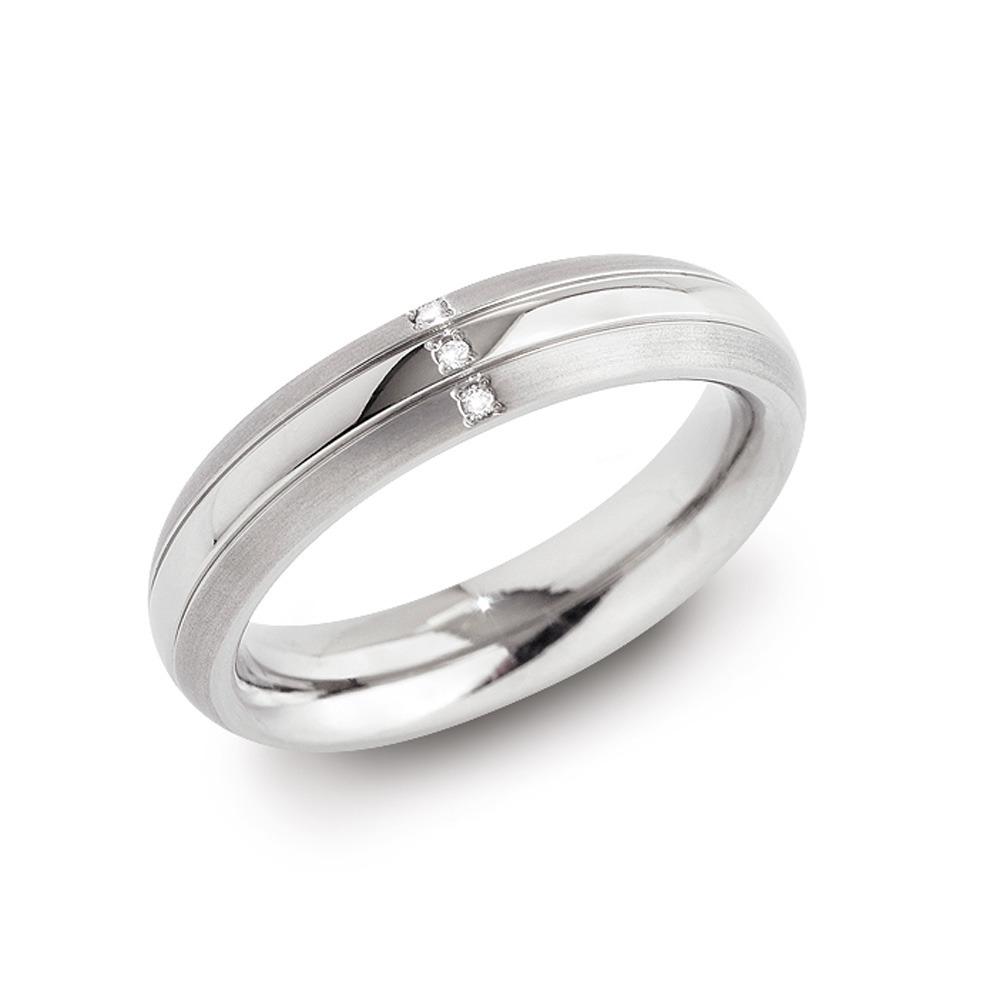 Boccia 0131-03 Titanium ring met diamant Maat 55 is 17.5mm