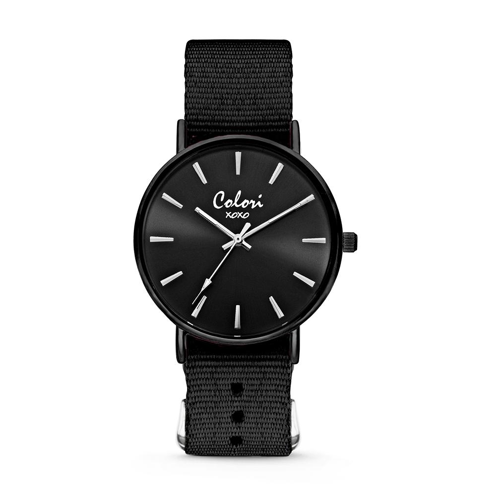 Colori XOXO 5 COL560 Horloge geschenkset met Armband - Nato Band - Ø 36 mm - Zwart - Zwart