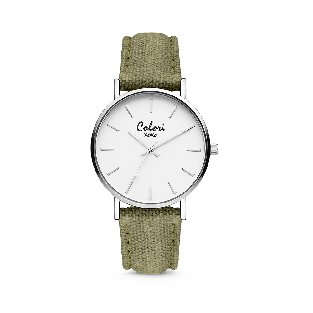 Colori XOXO 5 COL565 Horloge - Denim Band - Ø 36 mm - Groen - Zilverkleurig