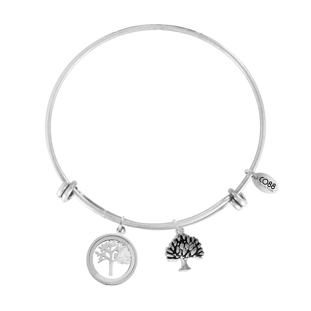 CO88 Armband 'Levensboom' staal-zilverkleurig, all-size 8CB-12063