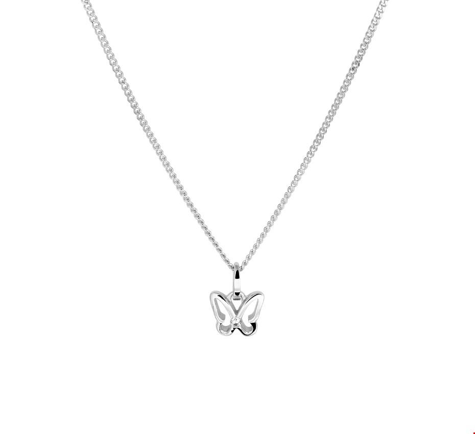 TFT Zilveren Ketting Vlinder Zirkonia 1,4 mm 36 4 cm