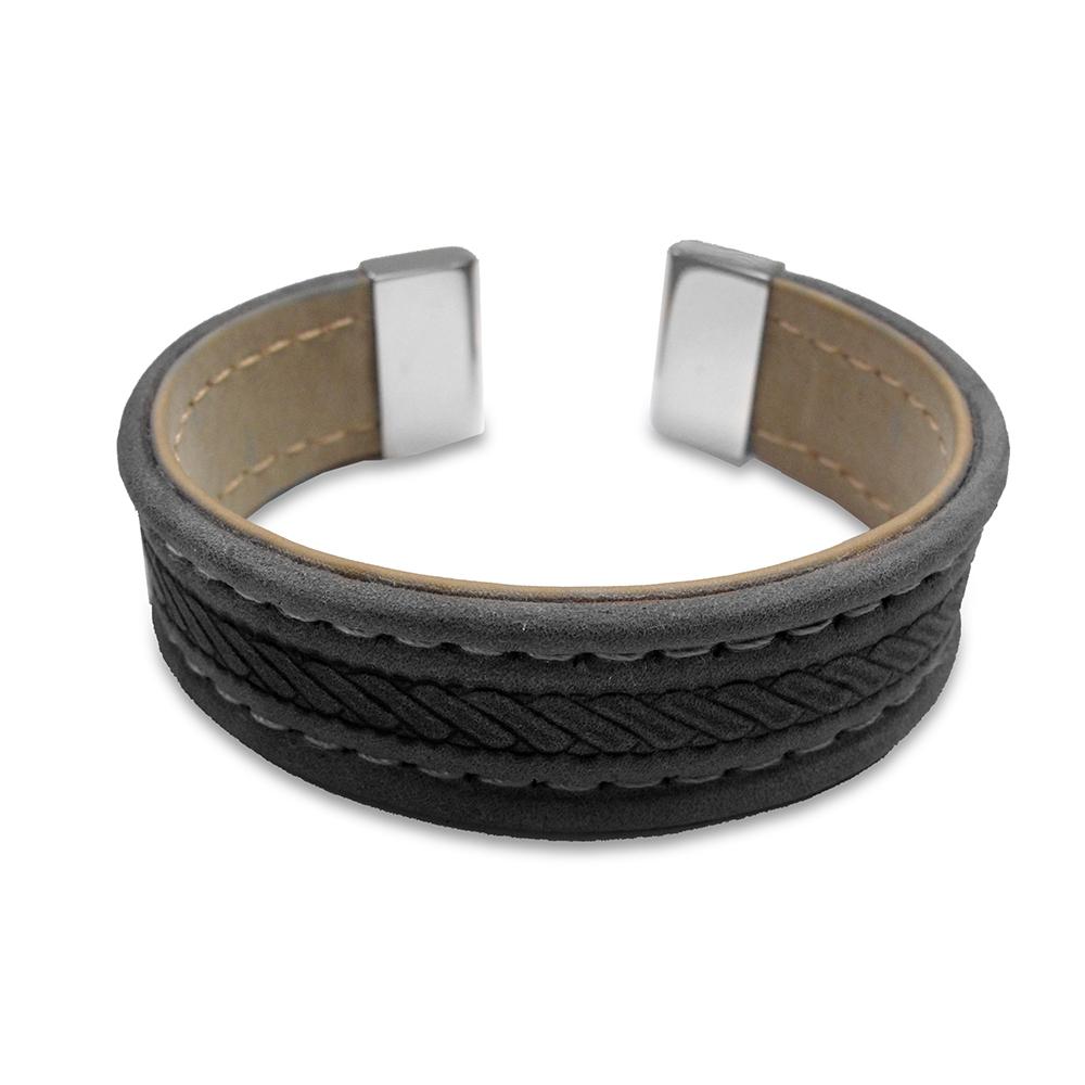 CO88 Lederen bangle met staal elementen - touw patroon - one-size - zwart / taupe / zilverkleurig 8CB-19001
