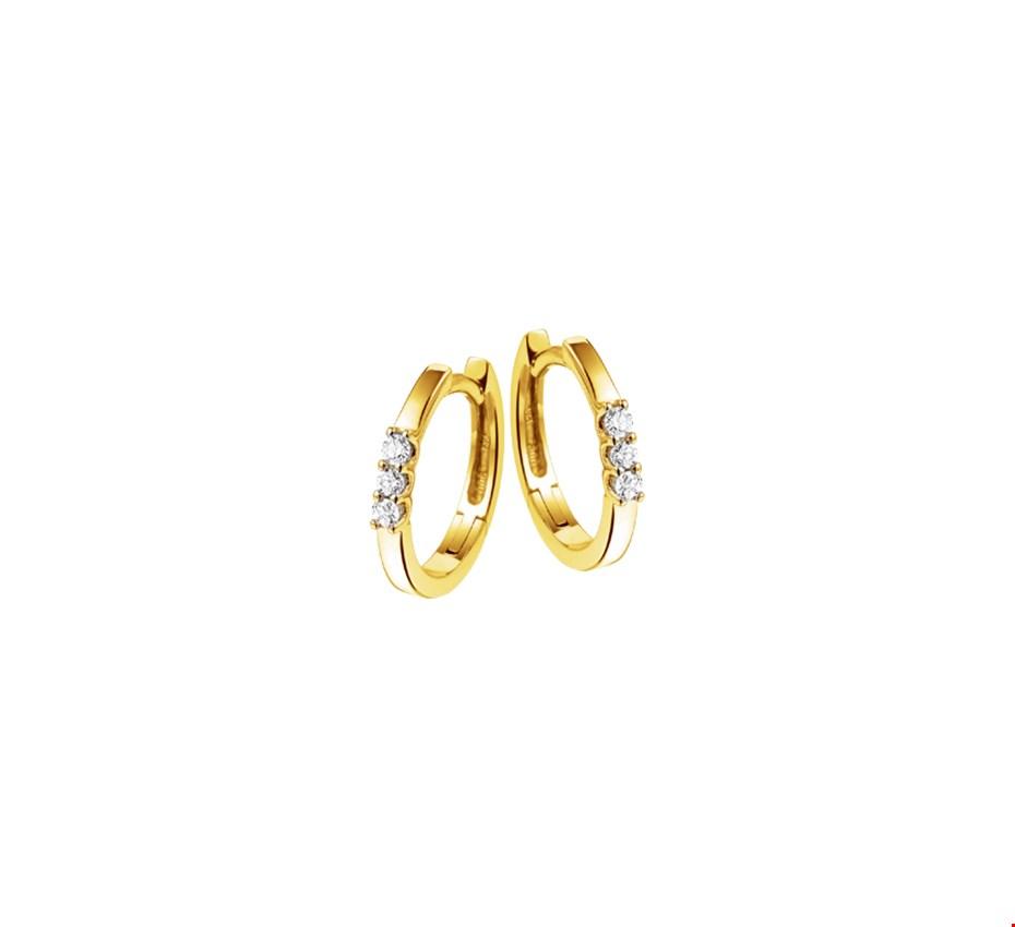 The Jewelry Collection Klapcreolen Diamant 0.12 Ct. - Geelgoud