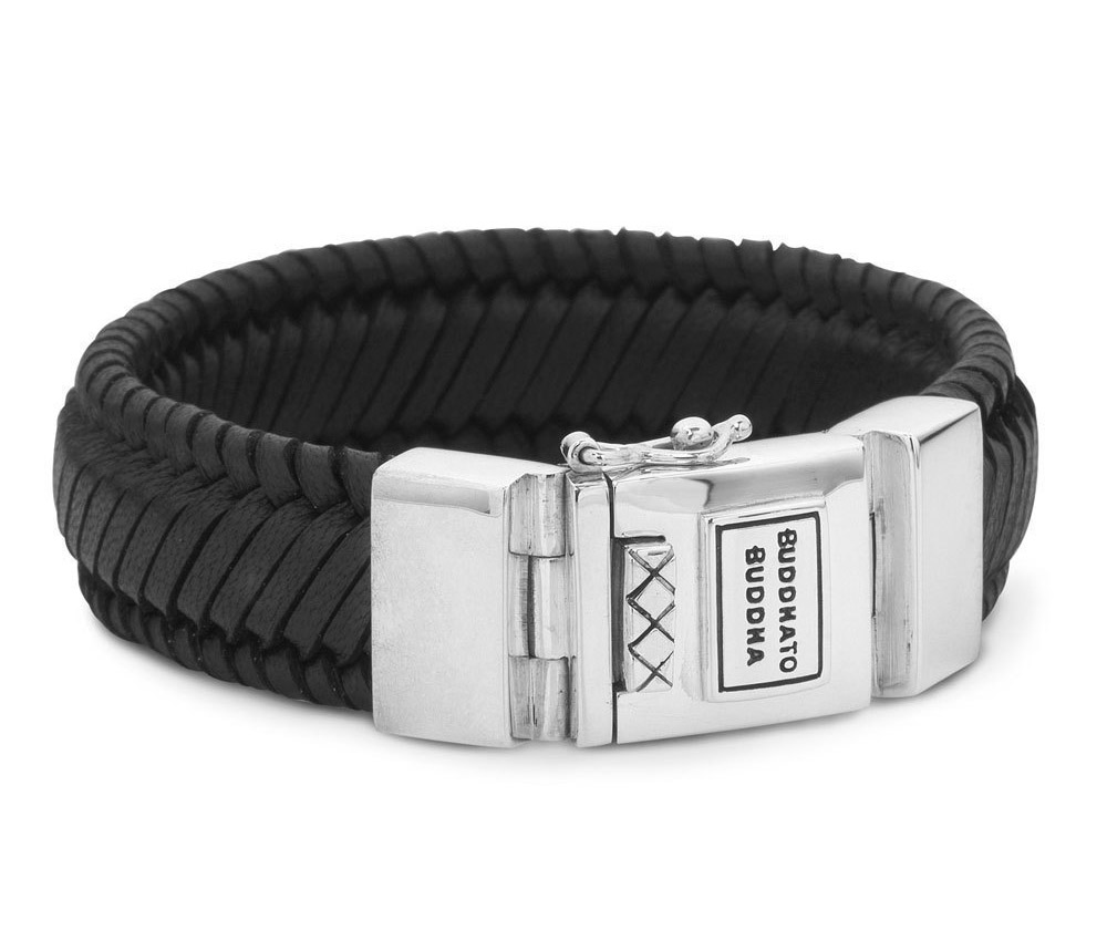 Buddha to Buddha Armband Edwin Leather Black (F) 21 cm 783BL