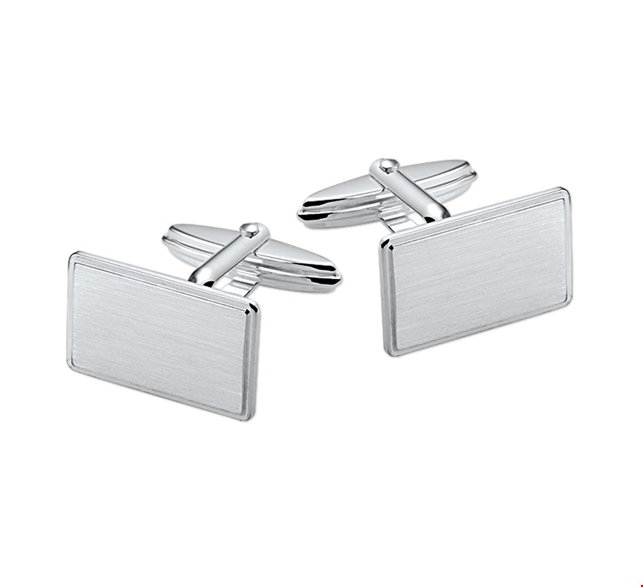 TFT Manchetknopen Poli/mat Zilver Gerhodineerd Mat Glanzend 11,5 mm x 18,0 mm