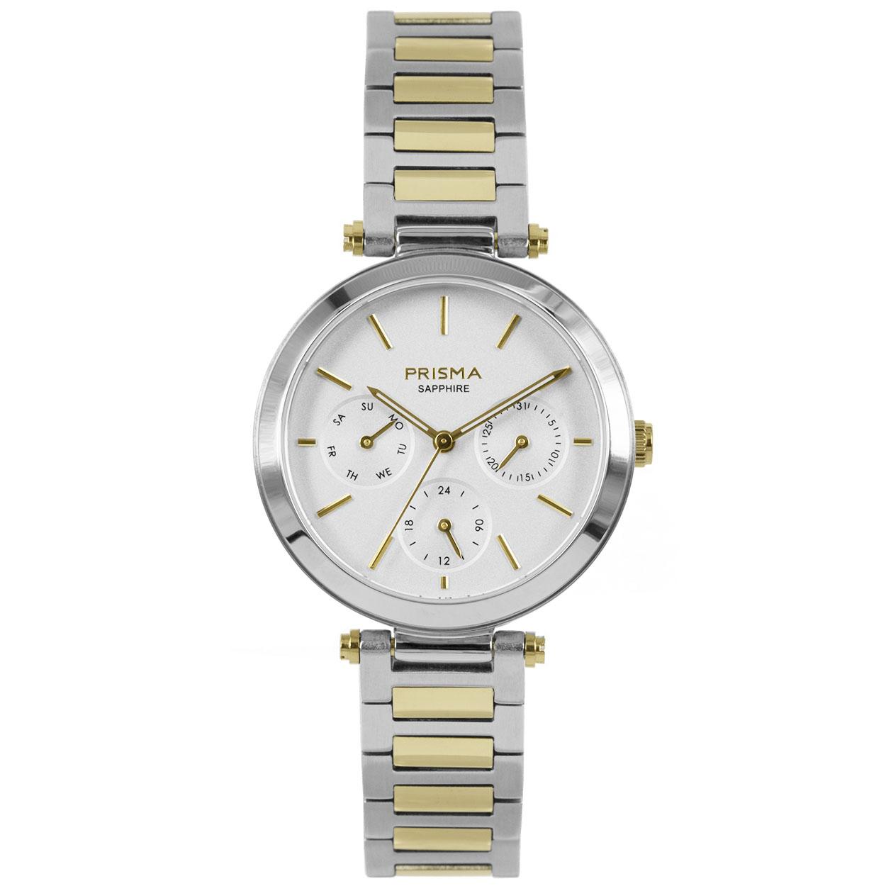 Prisma P.1342 Horloge Multifunctioneel staal zilver- en goudkleurig 32 mm