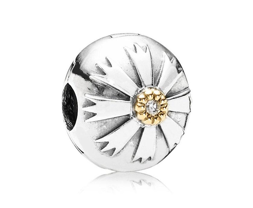 Pandora Bedel Clip-stopper zilver-goud 'Zon' 790988CZ