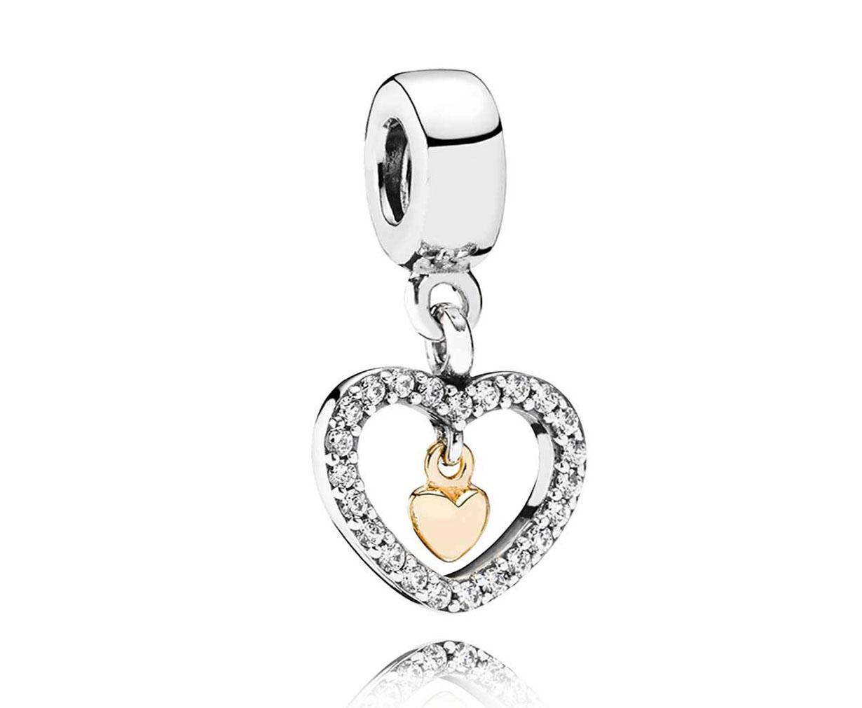 Pandora Hangbedel zilver zilver-goud 'Hart' 791421CZ