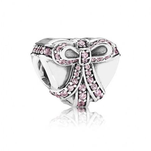 Pandora Bedel zilver 'Hart met roze strik' 791423PCZ uit coll