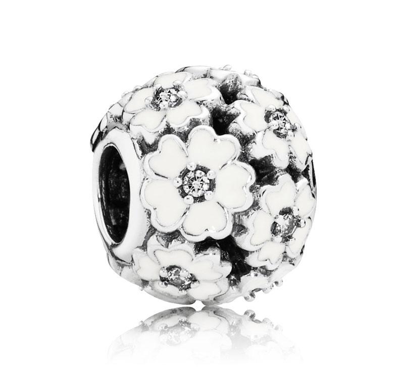 Pandora Bedel zilver 'Witte Bloemen' 791488EN12