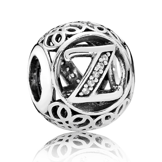 Pandora Bedel zilveren Letter Vintage 'Z' 791870CZ