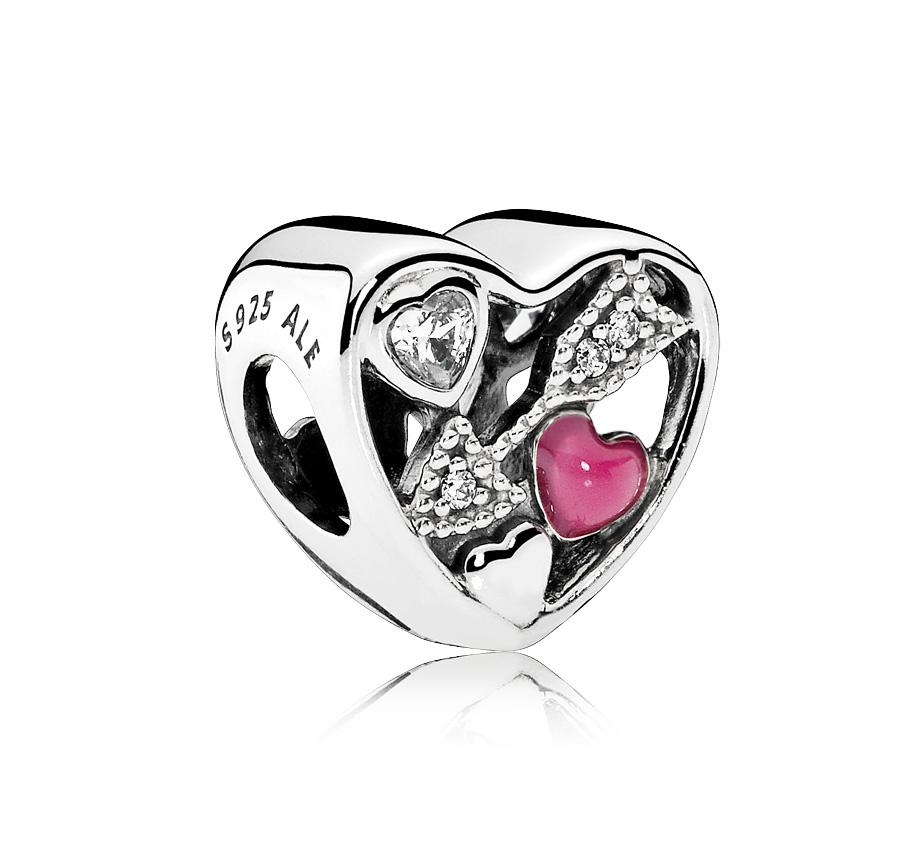 Pandora zilveren bedel 'Hart met pijl van Cupido' 792039CZ