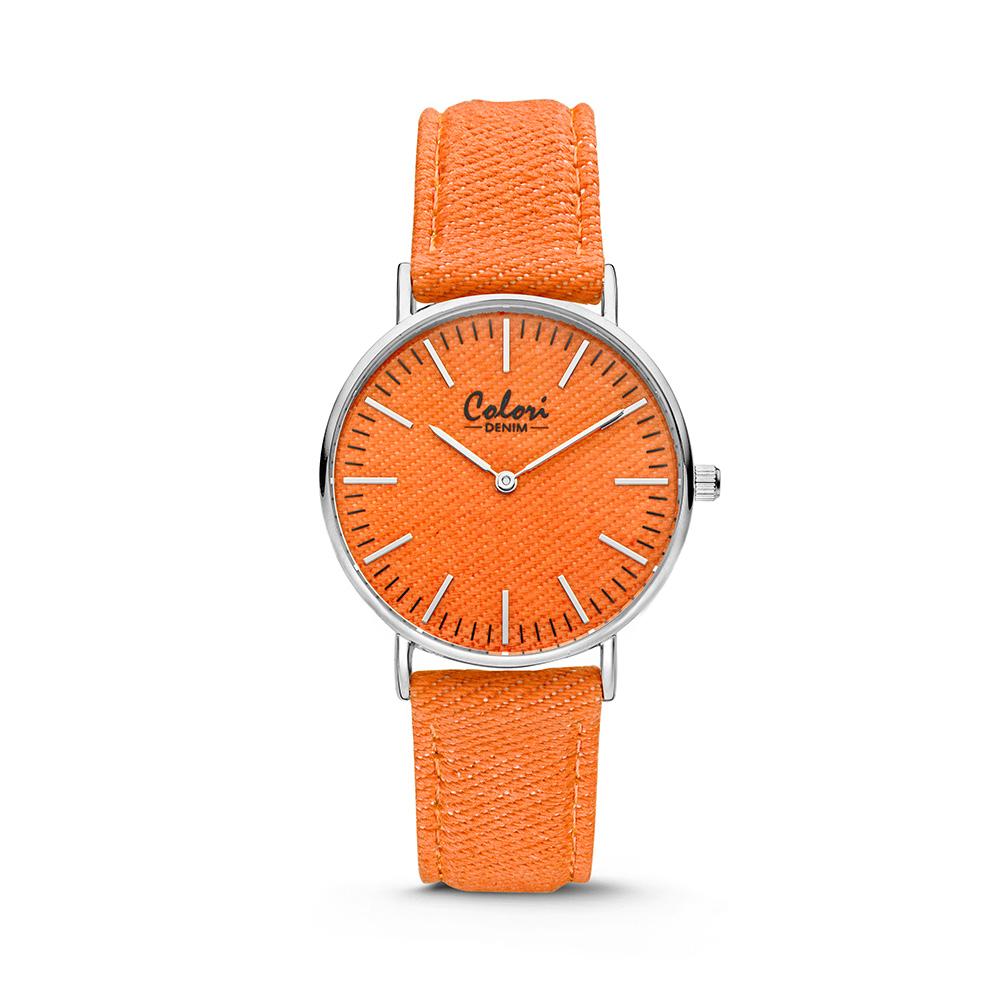 Colori Horloge Denim staal/denim oranje 36 mm 5-COL421