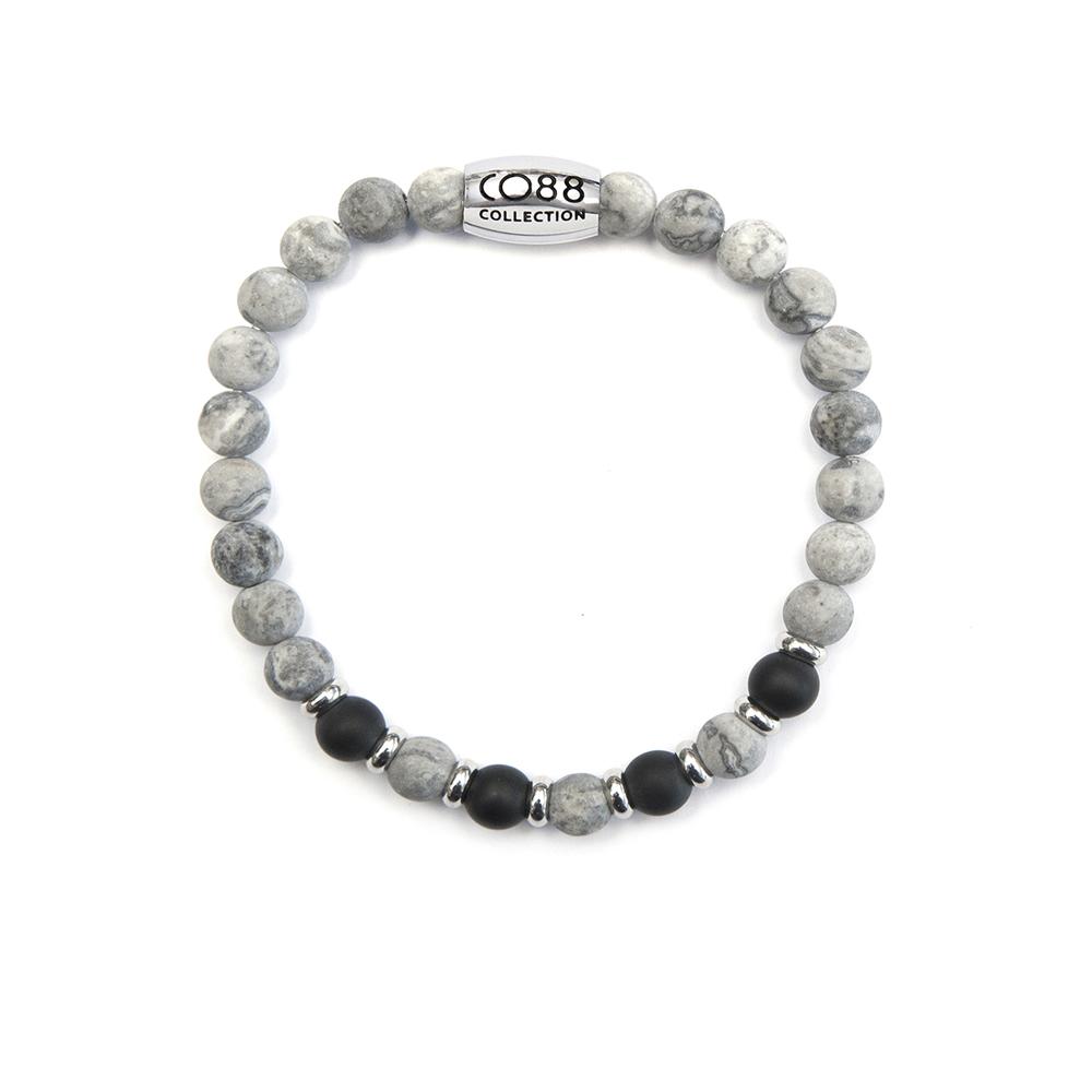 CO88 Collection 8CB-90024 - Natuurstenen armband - Jaspis en Agaat 6 mm - maat m - grijs - zwart