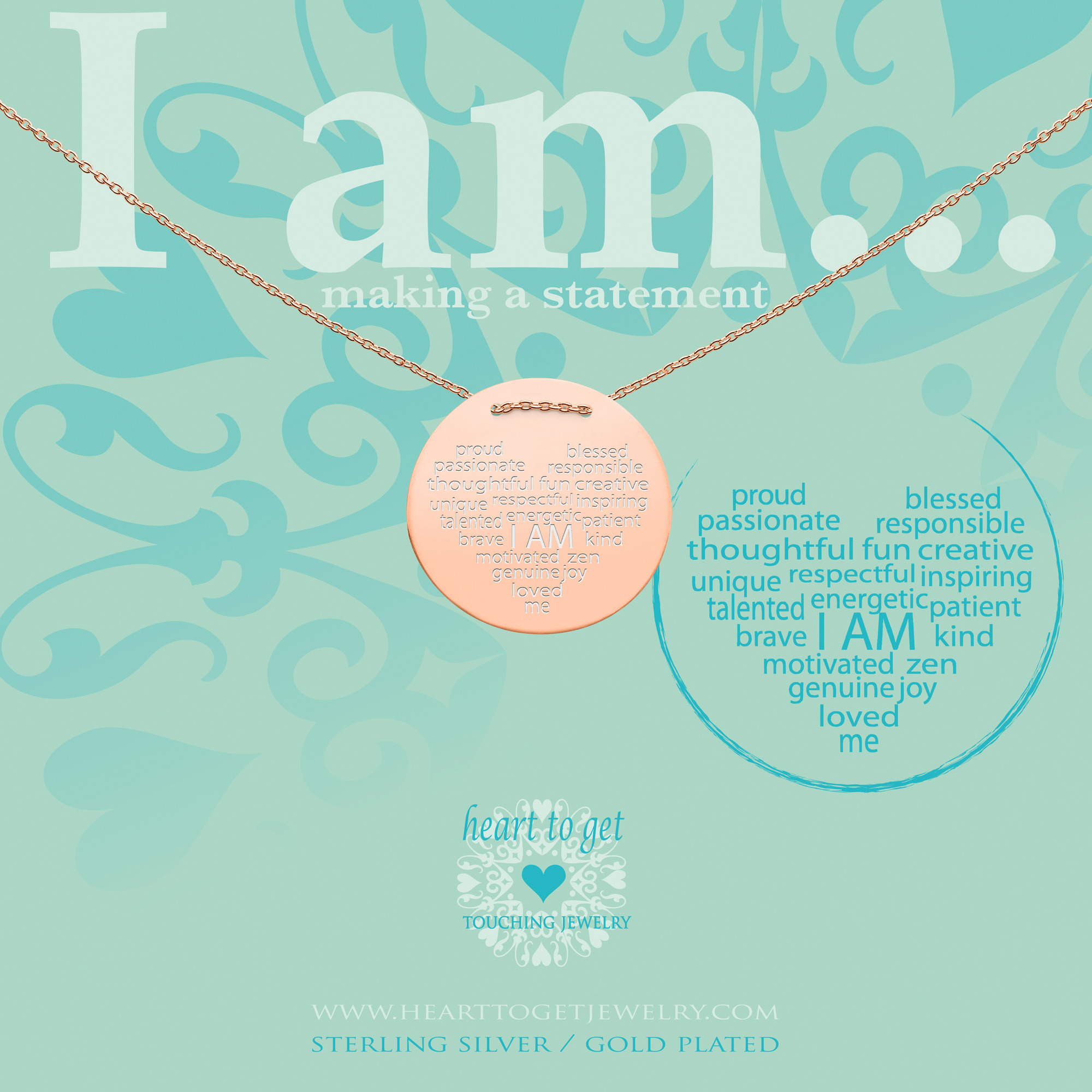 Heart to get IAM413N-IAMHEA-R i am...proud ketting rose verguld