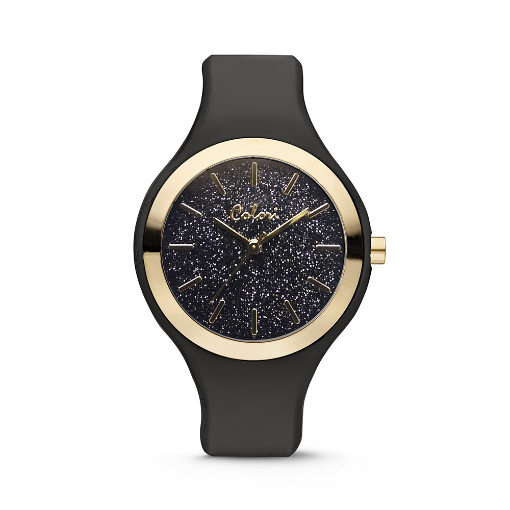 Colori Horloge Macaron siliconen zwart 44 mm 5-COL516
