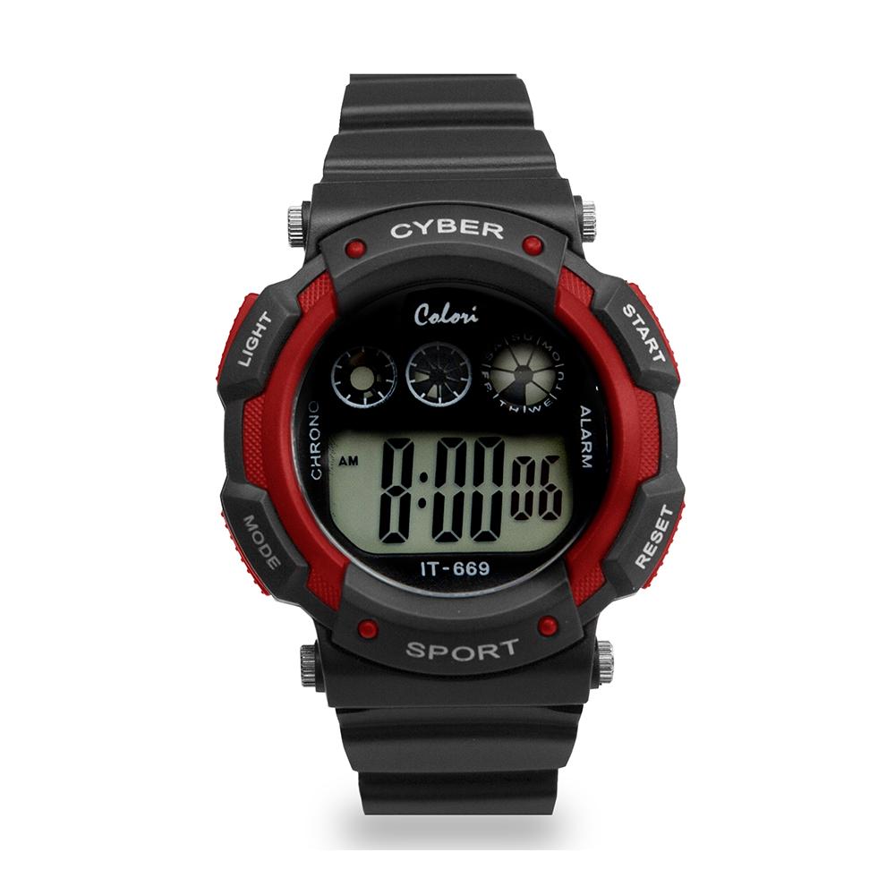 Colori Kinderhorloge Cyber Sport siliconen/digitaal zwart-rood 36 mm 5-CLK091