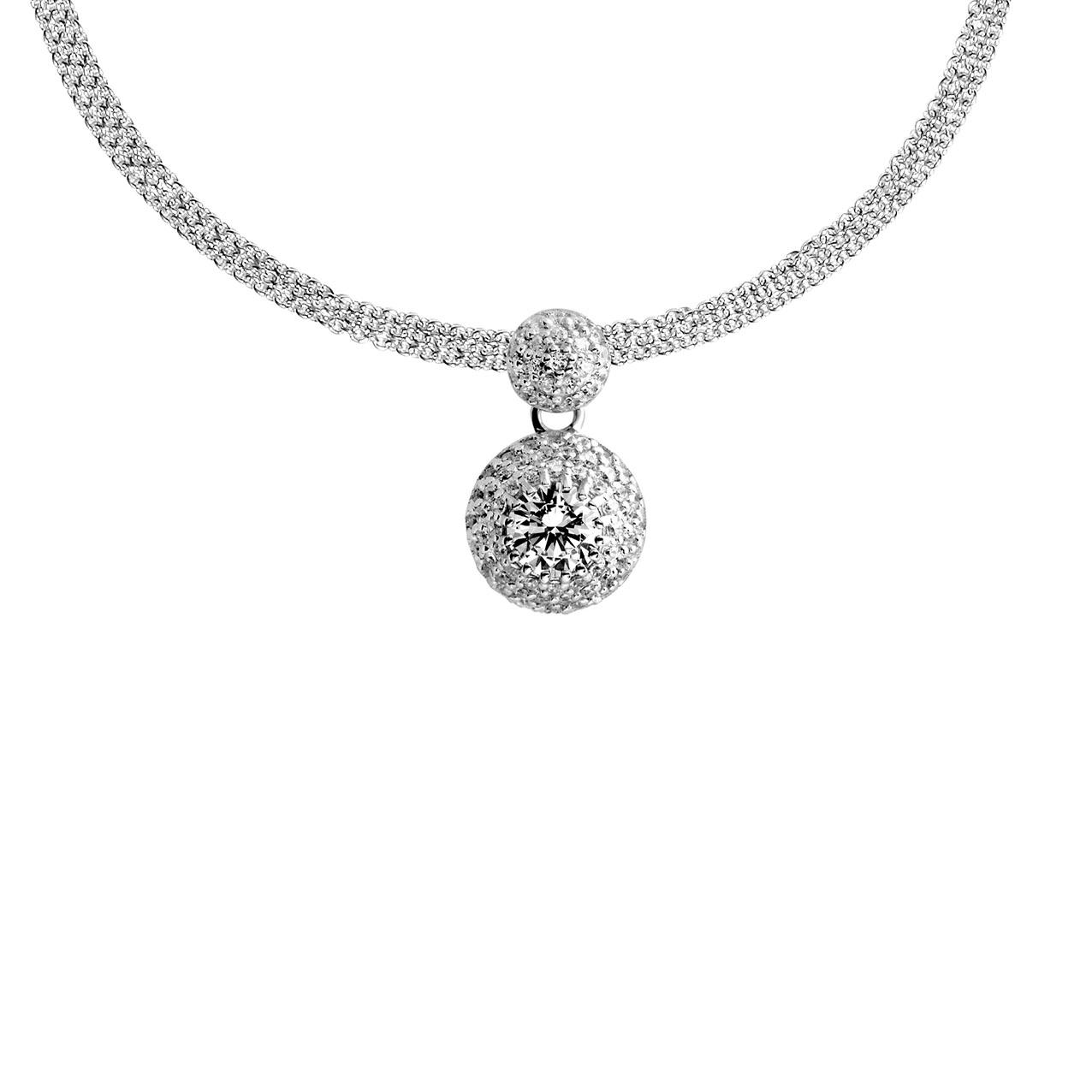 Zilveren Collier 45 cm met Ronde hanger Pavgezet zirkonia 803.0222.45