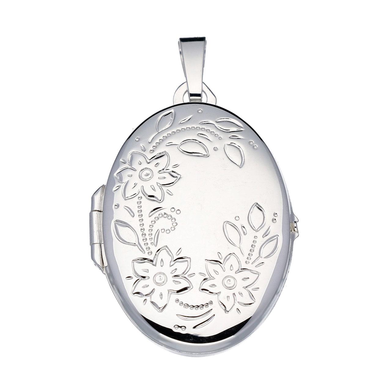 Zilveren Medaillon Ovaal Bloemmotief 145.0018.00