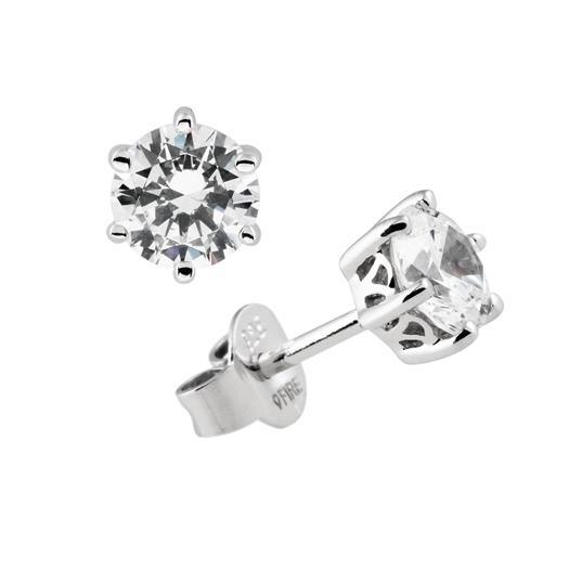 Diamonfire - Zilveren oorknoppen 0.75 ct - 5.65 mm - Chatonzetting