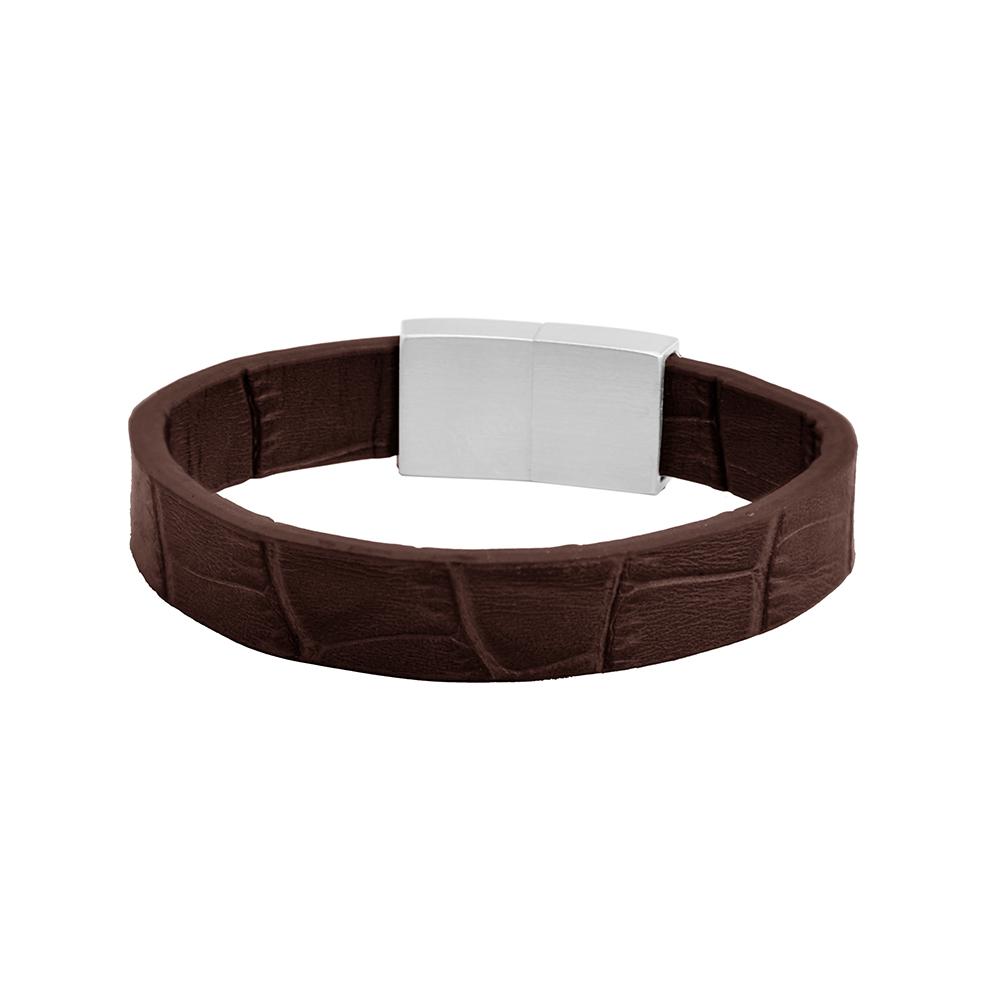 Frank 1967 Leather 7FB 0346 Heren Armband Echt leer Donker bruin-Zilverkleurig