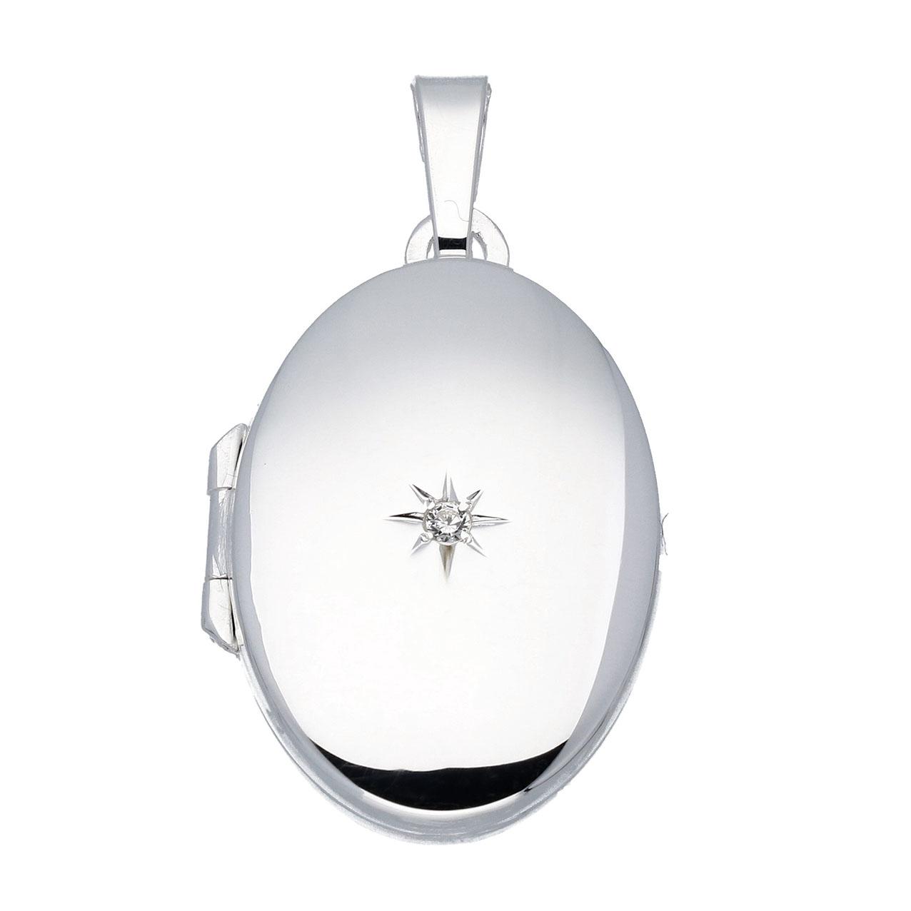 Zilveren Medaillon Ovaal met zirkonia - 17 x 26 mm 145.0025.00