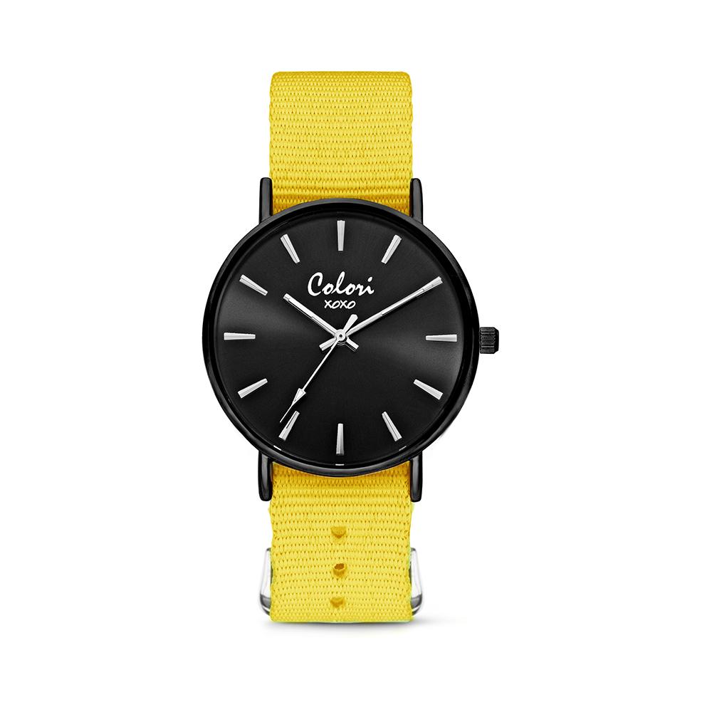 Colori XOXO 5 COL552 Horloge geschenkset met Armband - Nato Band - Ø 36 mm - Geel - Zwart