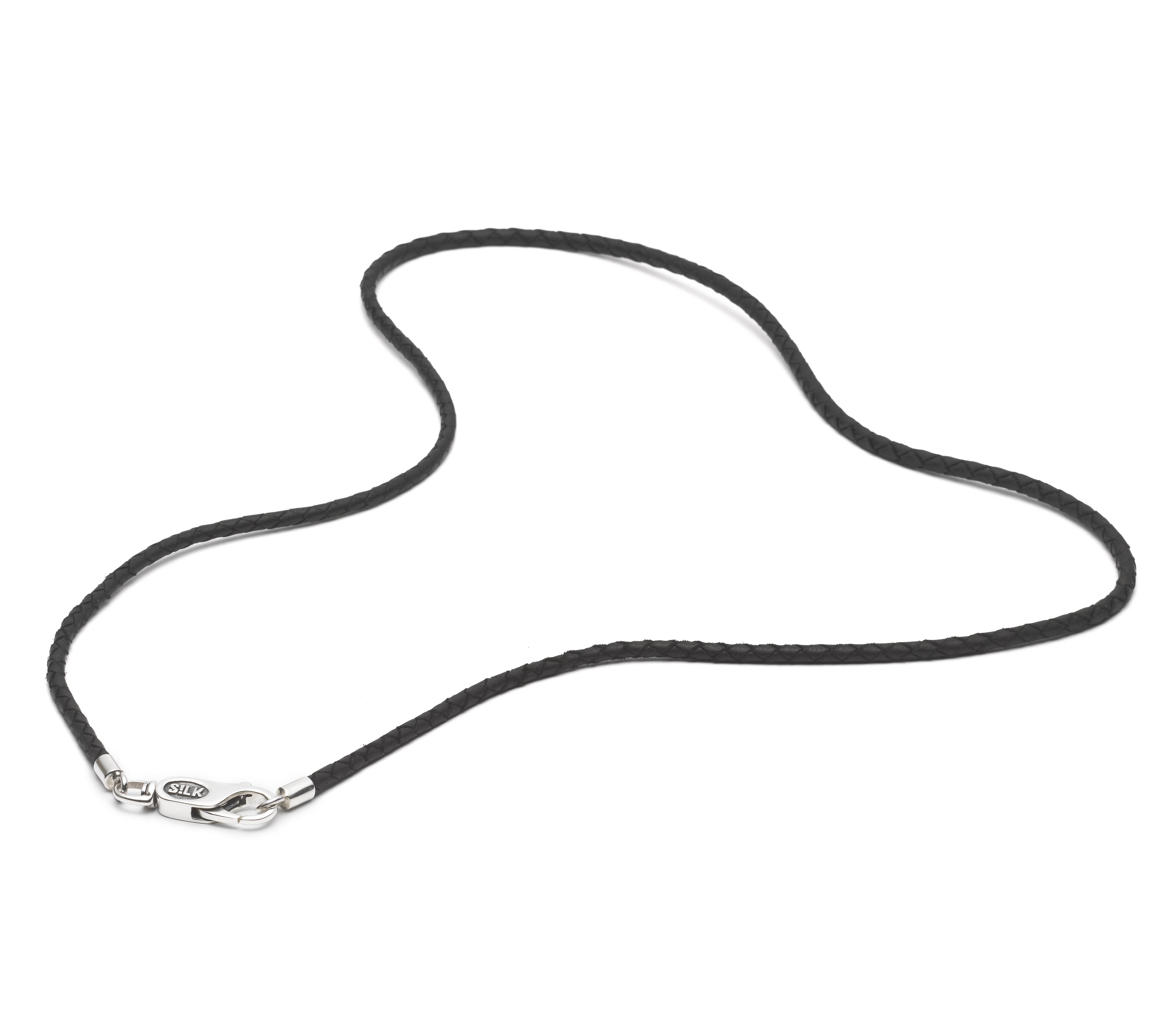 SILK Jewellery 820BLK.21 Armband zilver-leder zwart 21 cm