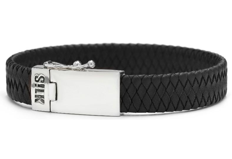 SILK Jewellery Armband zilver-leder zwart 21 cm 841BLK