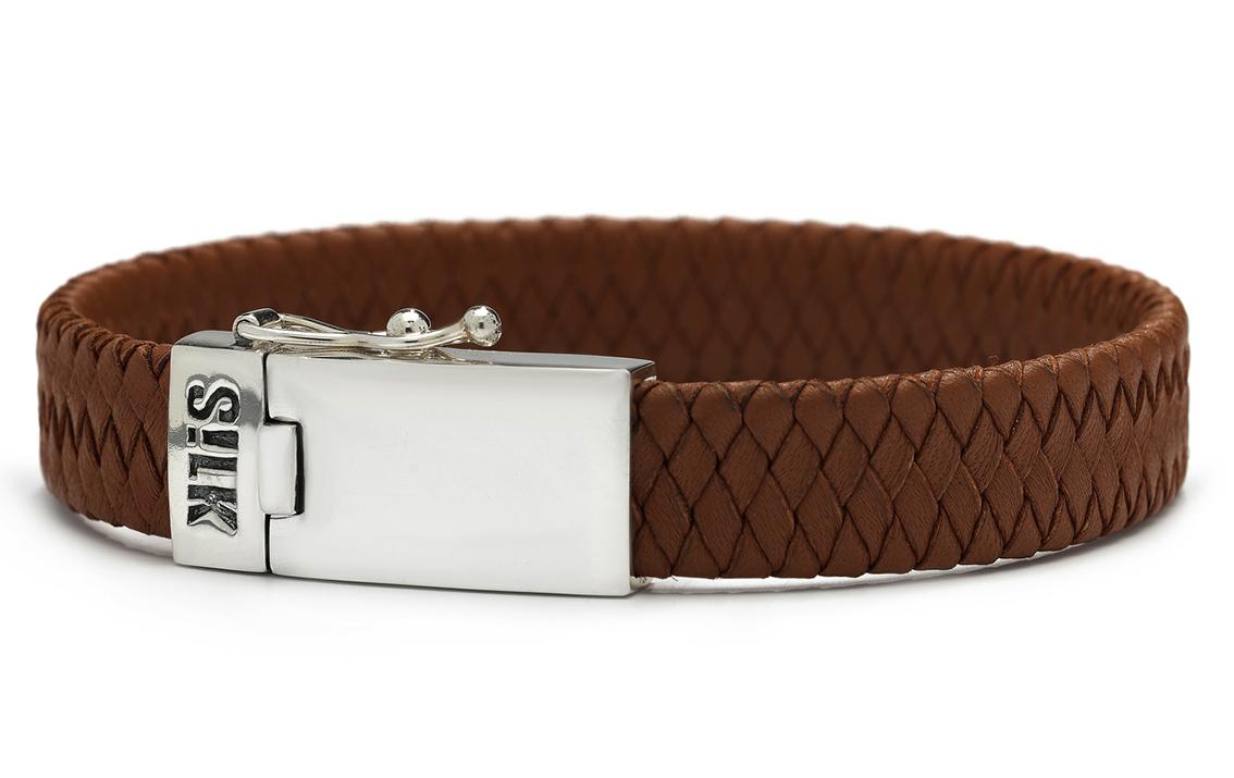 SILK Jewellery Armband zilver-leder bruin 21 cm 841BRN