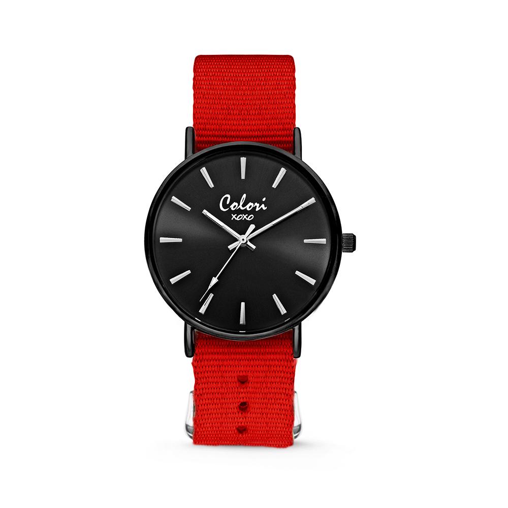 Colori XOXO 5 COL554 Horloge geschenkset met Armband - Nato Band - Ø 36 mm - Rood - Zwart