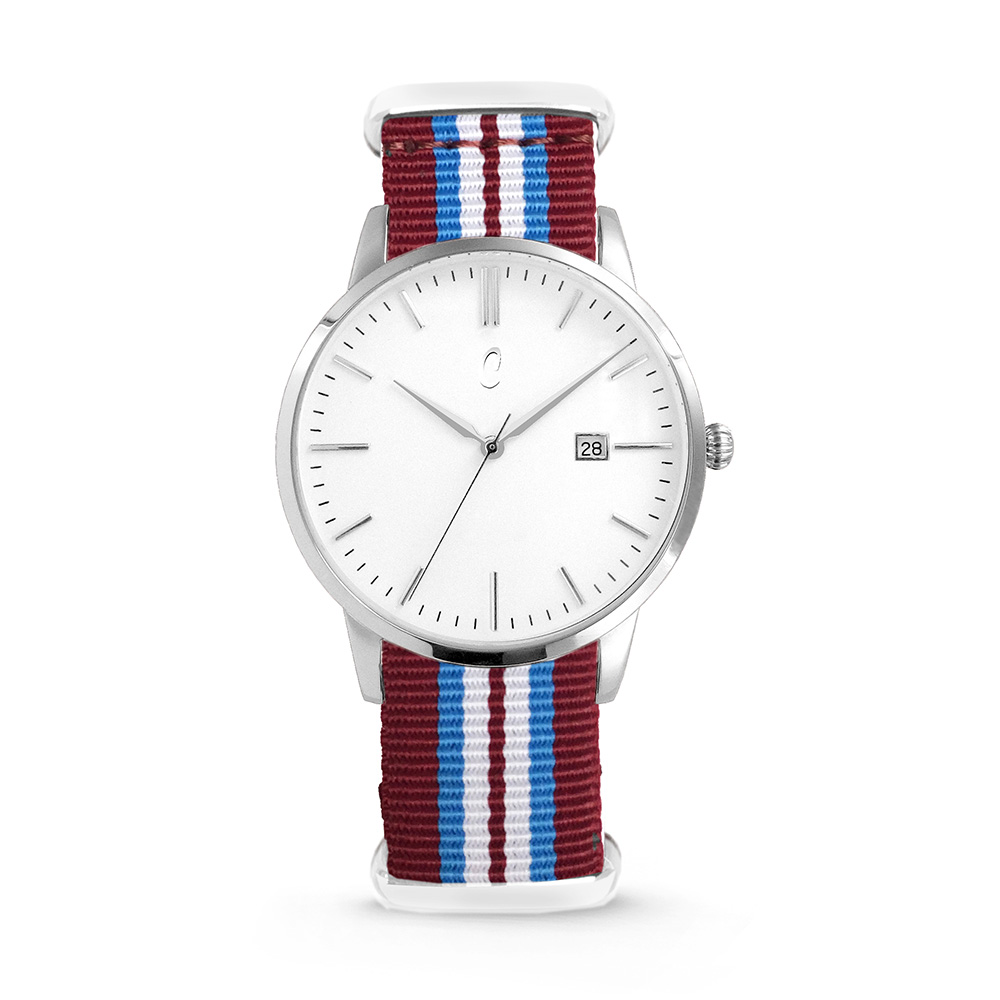 Colori Horloge Connaisseur staal/nylon rood-wit-blauw 40 mm 5-COL497