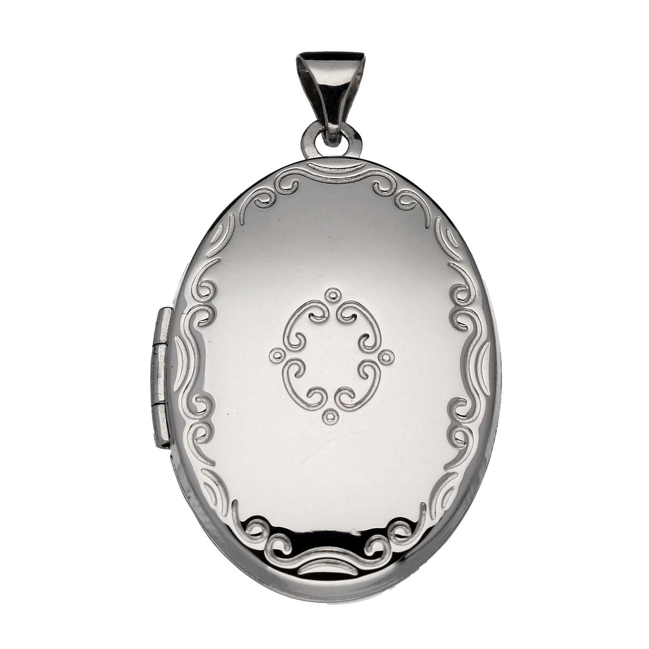 Zilveren 145.0090.00 Medaillon Bewerkt - 18 x 26 mm