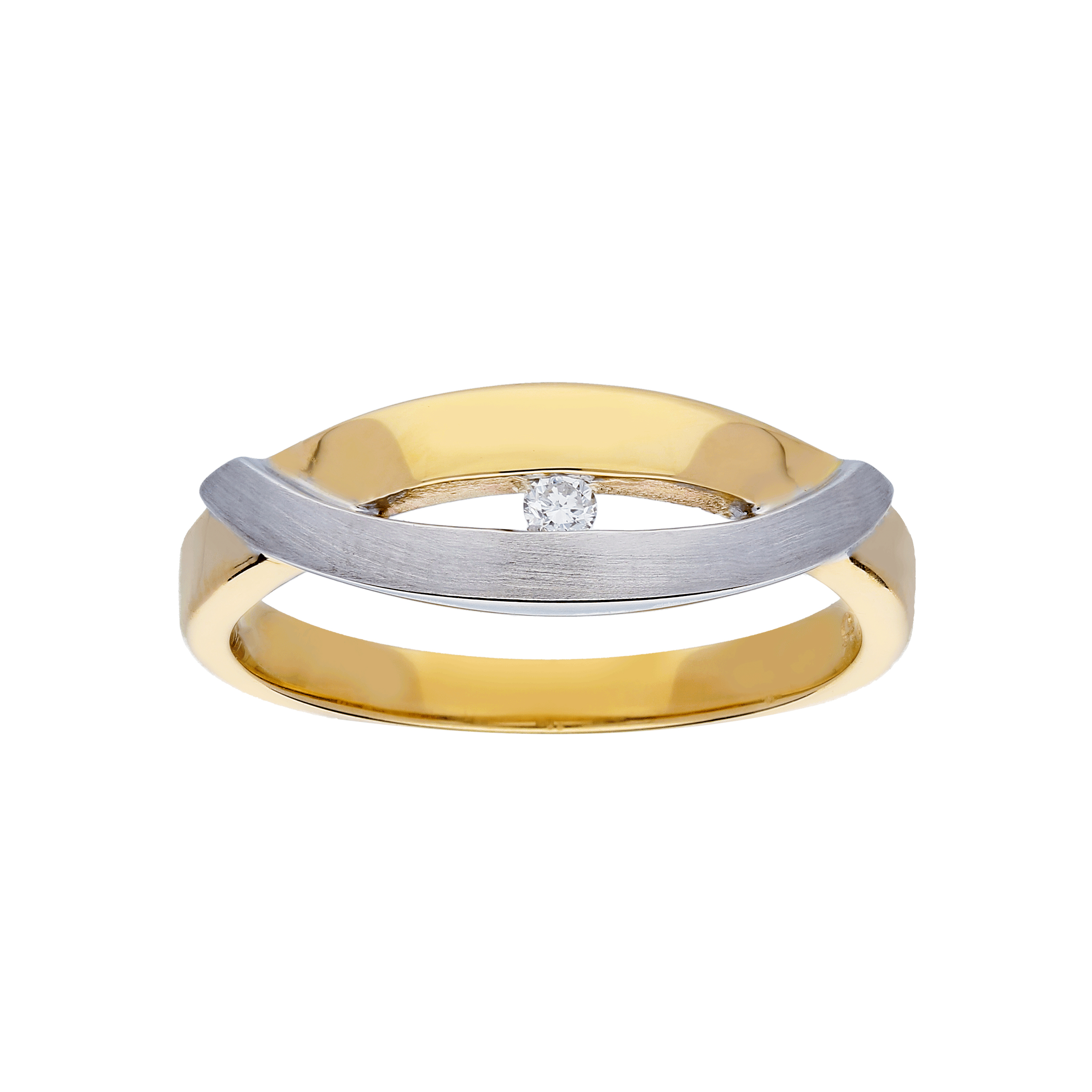 Glow Gouden Ring Bicolor Mat Glanzend Diamant 1 0.03ct G si 214.5202.54
