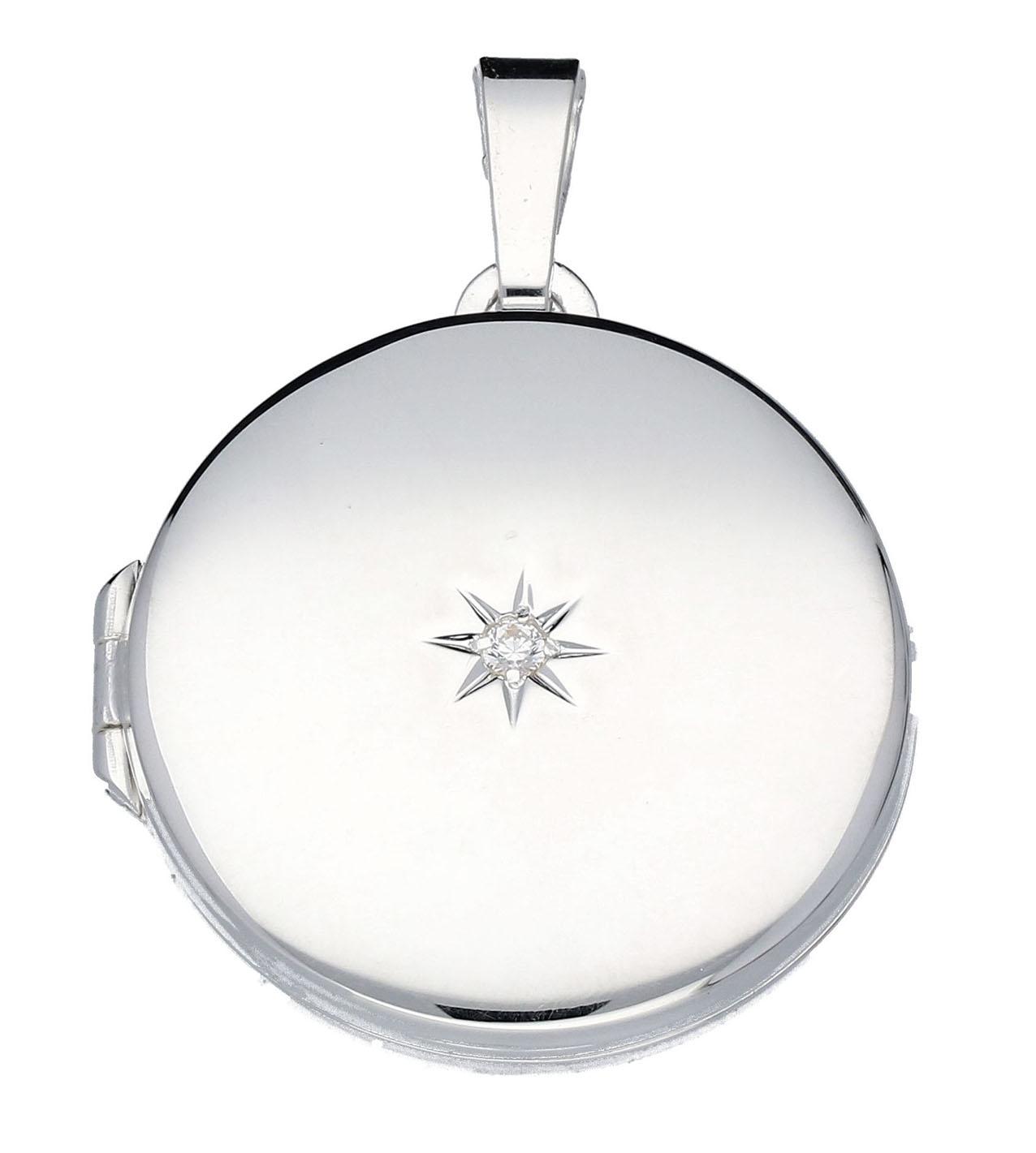Zilveren Medaillon Rond met zirkonia 21.5 mm 145.0137.00
