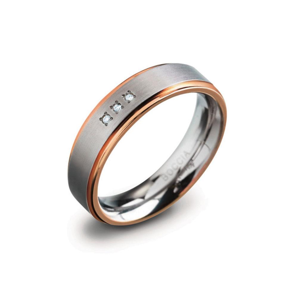 Boccia 0134 02 Ring titanium briljant zilver en rosekleurig 6 mm 0,015 crt Maat 58