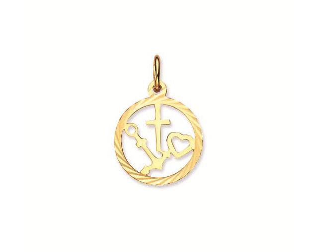 Religious Gouden Hanger Geloof, Hoop en Liefde rond 14 mm 246.0083.00