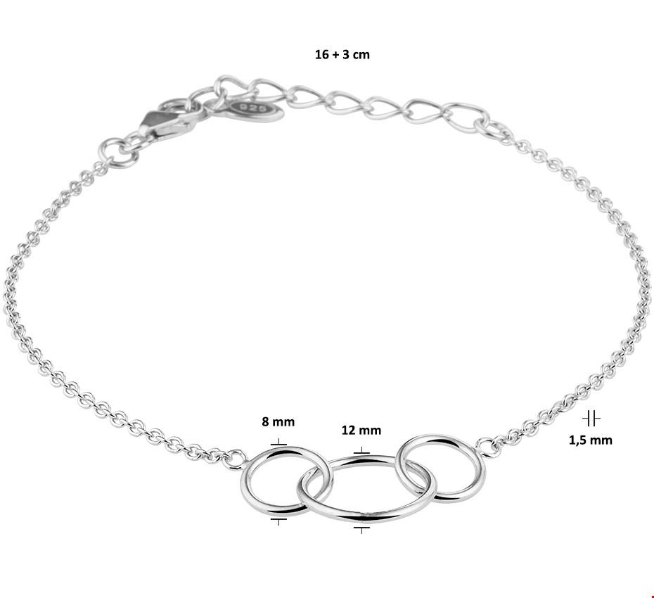 TFT Armband Zilver Rondjes 1,5 mm 16 3 cm