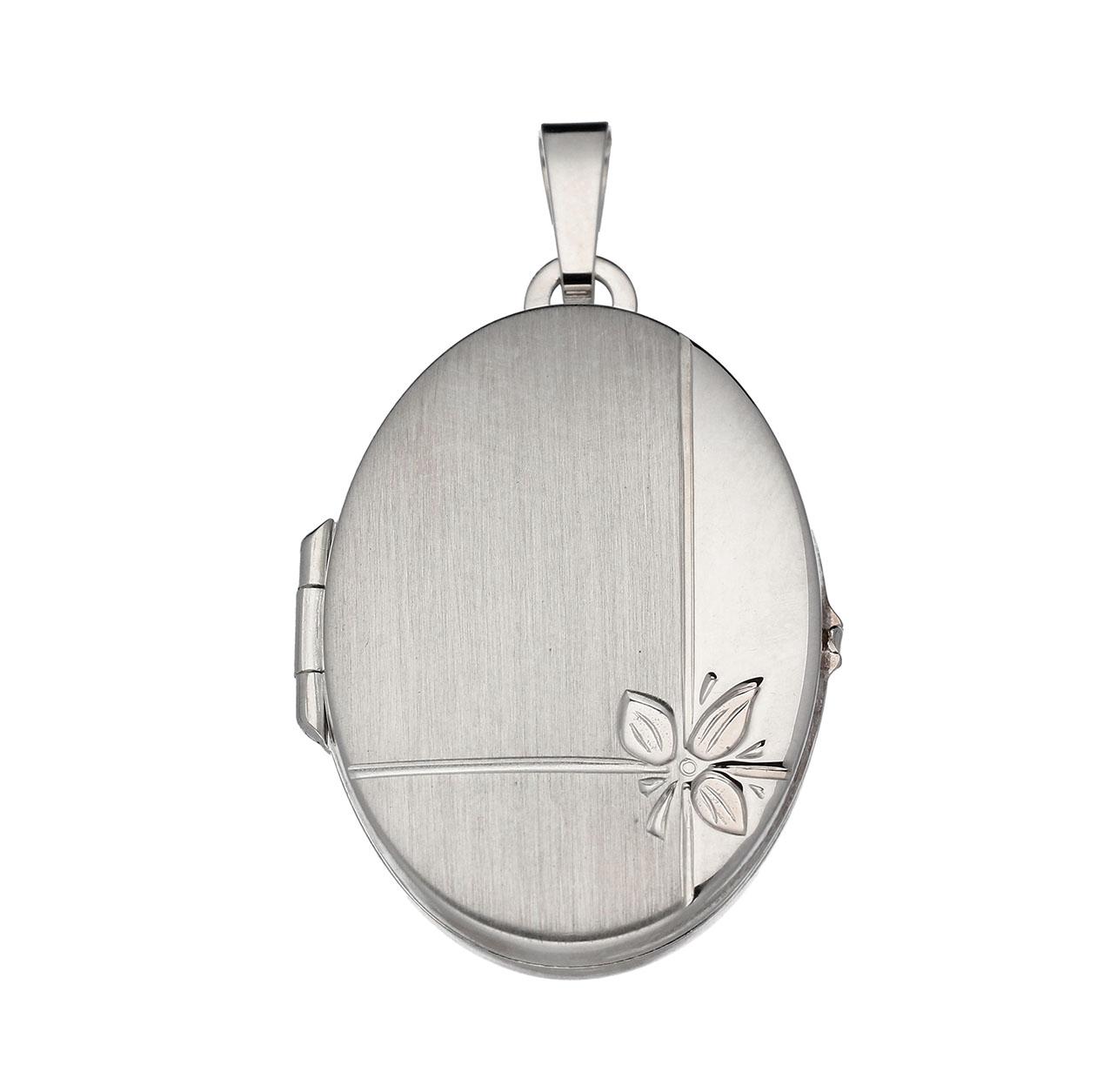 Zilveren Medaillon Ovaal Bloemmotief 21,5 mm 145.0026.00