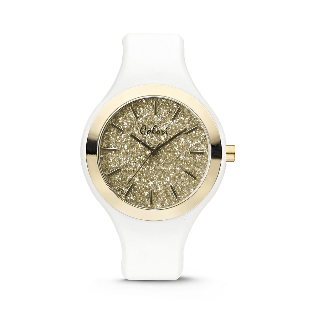 Image of Colori 5-COL517 Horloge Macaron siliconen wit 44 mm 12637
