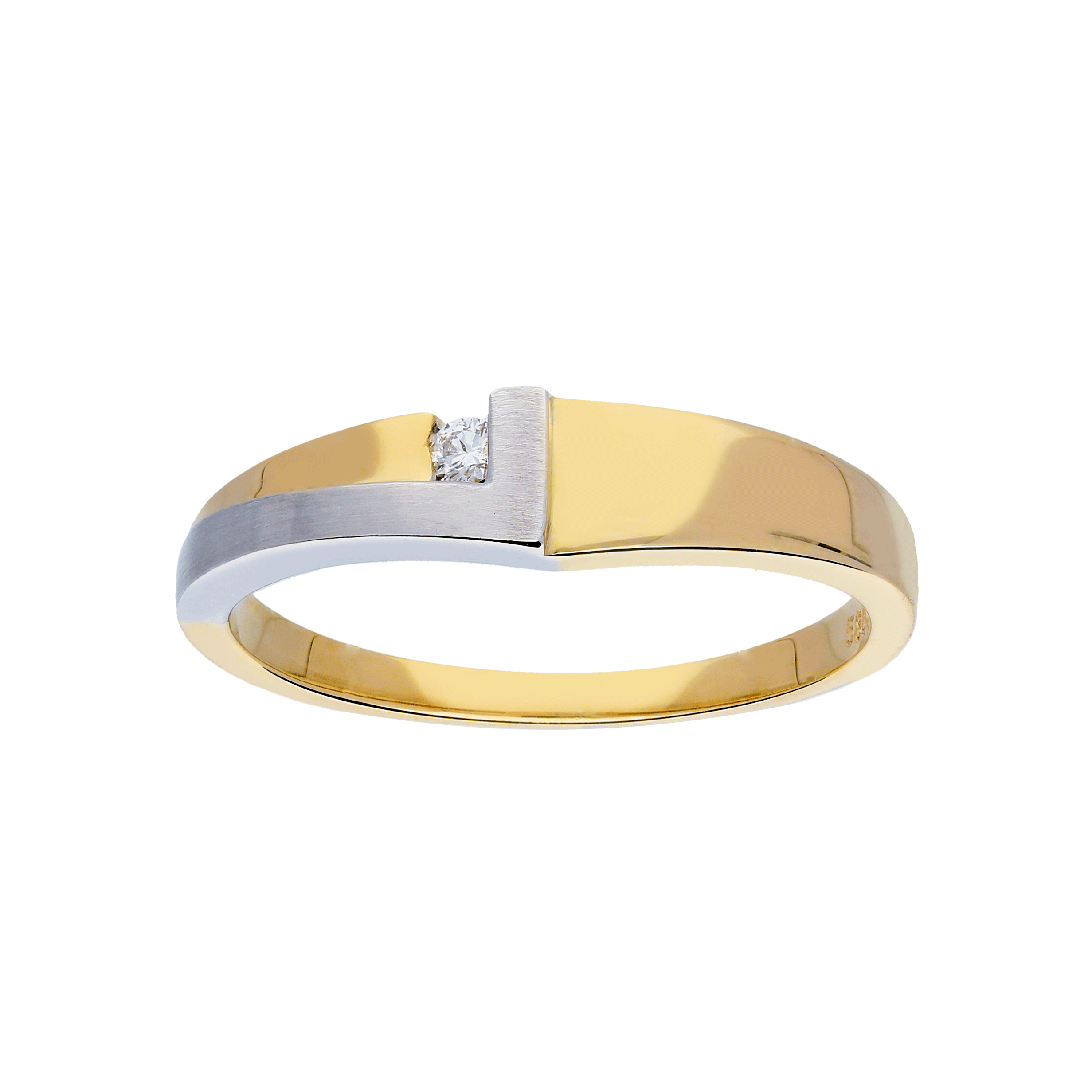 Glow Gouden Ring Bicolor Mat Glanzend Diamant 1 0.03ct G si 214.5203.58