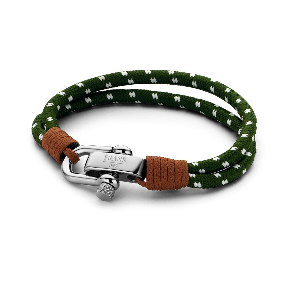 Frank 1967 7FB-0216 Heren gewevem armband met staal elementen nylon lengte 23 cm groen-wit
