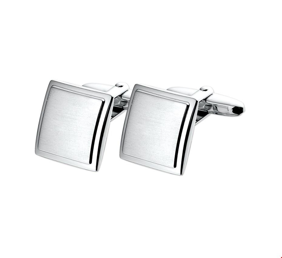 TFT Manchetknopen Poli/mat Zilver Gerhodineerd Mat Glanzend 16,5 mm x 16,5 mm