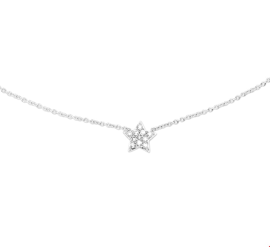 The Jewelry Collection Ketting Ster Diamant 0.09 Ct. 0,9 mm 40 - 44 cm - Witgoud