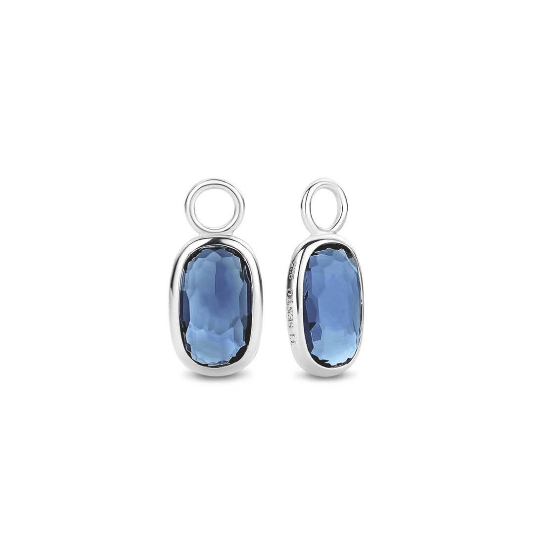 TI SENTO-Milano 9199DB Oorringcharms zilver-blauw